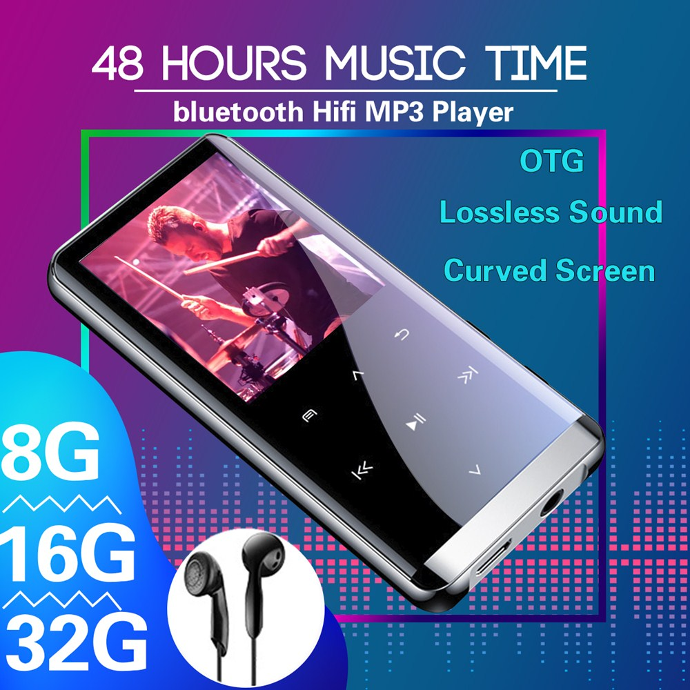 32GB Bluetooth MP3 Player Earphones HiFi Fm Radio Mini USB Sports HiFi Portable Music Players Voice Recording Recorder