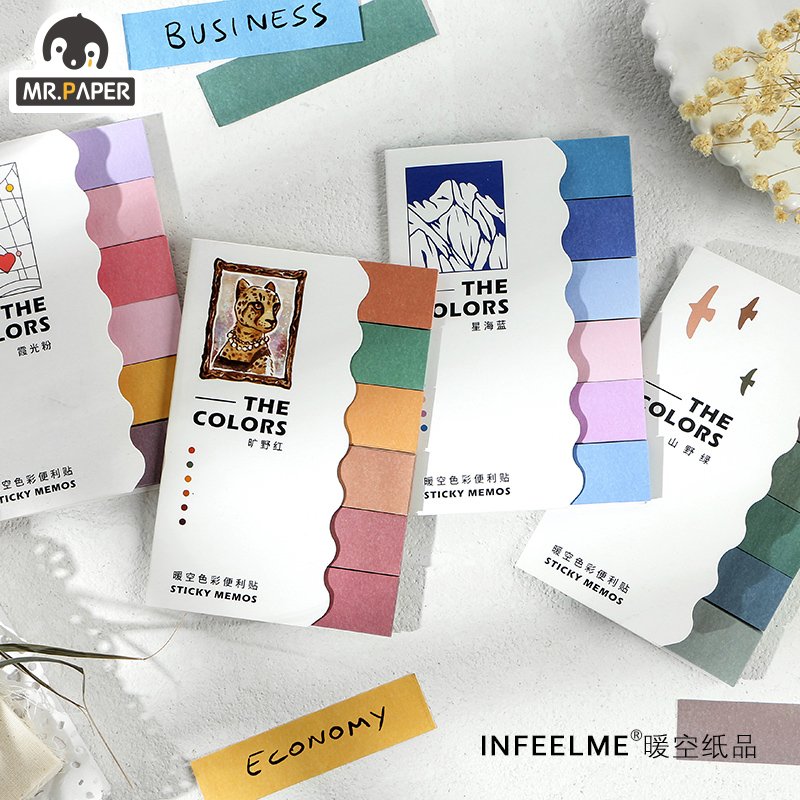 Mr.paper 4 Designs 120pcs Gradual Change Color Deco Stickers Page Flags Scrapbooking Bullet Journal Artist Stationery Stickers