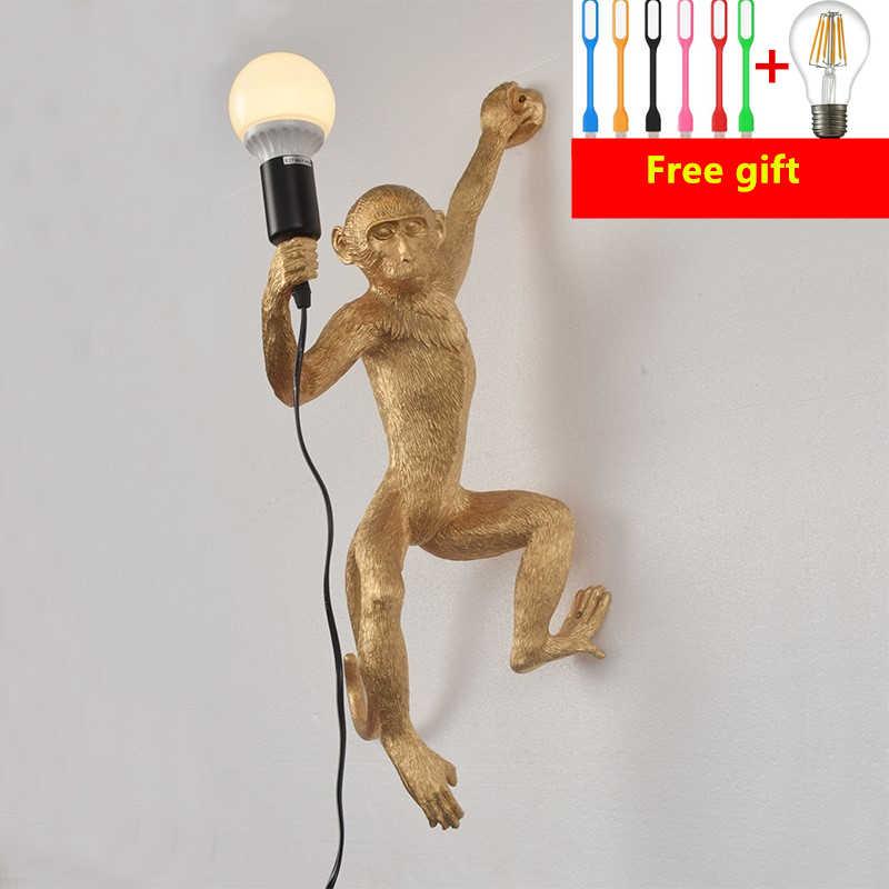 الراتنج أسود أبيض الذهب قرد مصباح متدلٍ لغرفة المعيشة مصابيح الفن صالون غرفة الدراسة Led أضواء بريق مع E27 Led لمبة