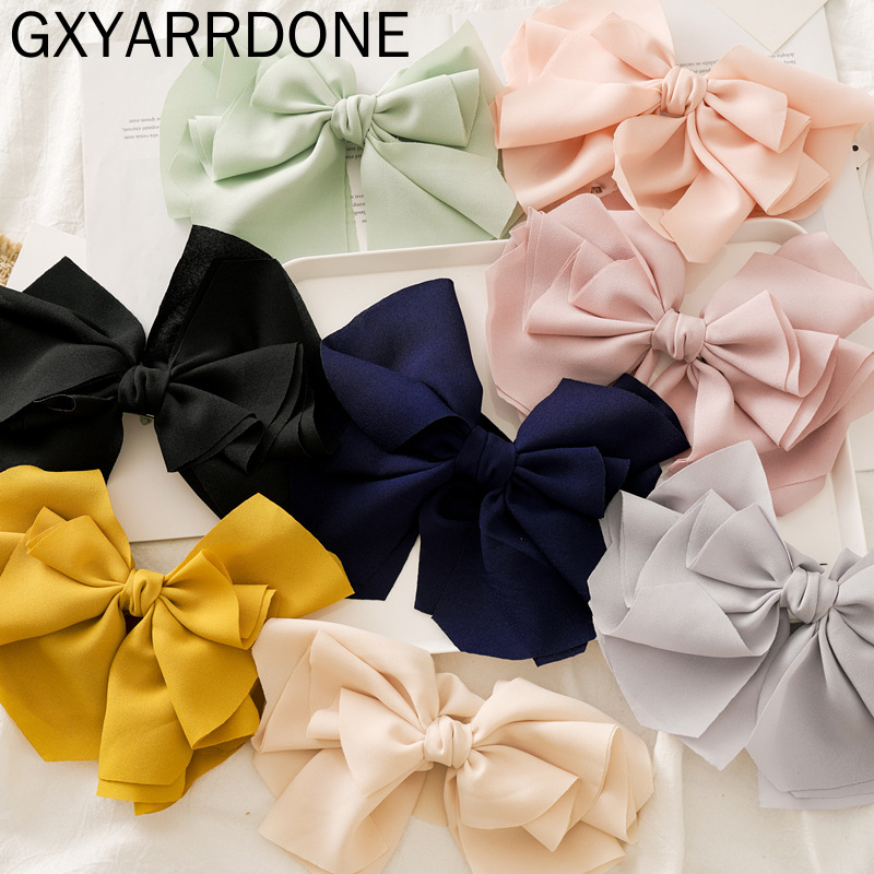 8 Colors High Quality Macaroon Large Beautiful Silk Bow Barrette Hair Clips Women Hair Accessories Girls Big Bowknot Hairclips