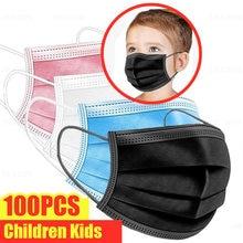 100 pièces masques jetables pour enfants Non-tissé masques 3 couches pli filtre Anti-poussière respirant enfant bouche masque rose blanc en STOCK