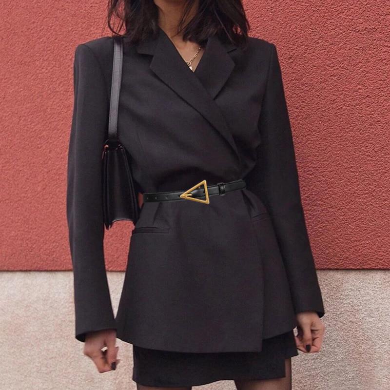 New Women Leather Thin Belt Metal Triangle Pin Buckle Waist Belts Brand Designer Fashion Ladies Dress Shirt Decorative Waistband