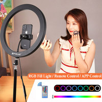 12 inch RGB Ring Light Dimmable LED Ring Fill Light Lamp 30cm Color APP Control With Phone Clip For Youtube Selfie Video Live