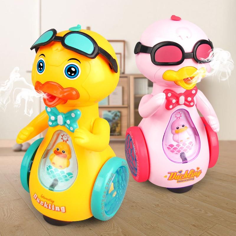 Universal Spray Electric Yellow Walking Duck Music Lighting Simulation Animal Duck Child Intelligence