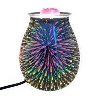 Aroma elettrico cera fusione bruciatore di incenso lampada 3D tocco fuochi d'artificio lampada luce notturna crostata aromaterapia diffusore scaldacera spina UK