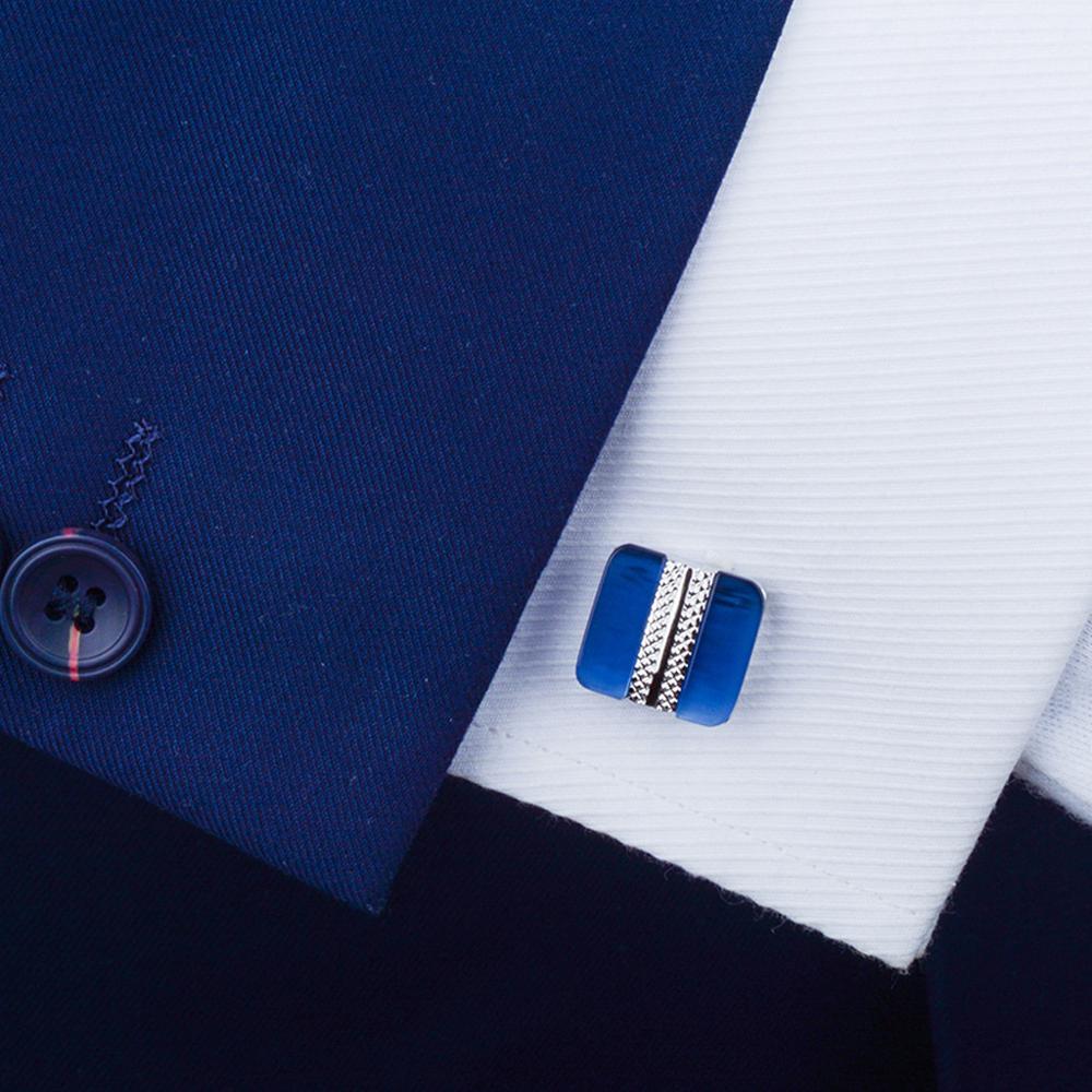 SAVOYSHI Luxury Blue Opal Cufflinks for Mens Suit Shirt High Quality Stone Cuff links Custom Logo Special Gift Brand Jewelry