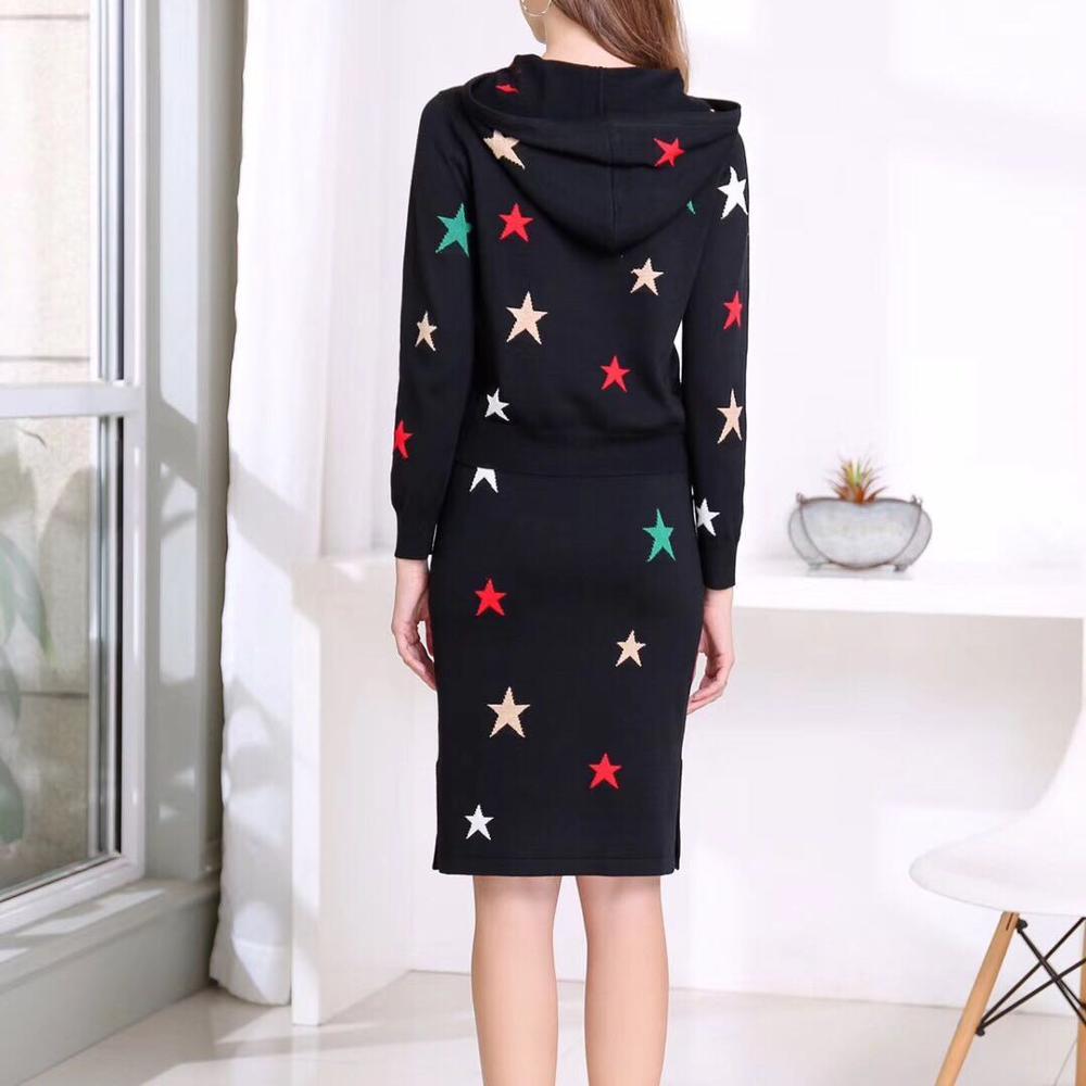 Sweats à capuche ensemble 2019 automne hiver pull décontracté costume femmes à capuche motifs étoiles sweat + mi mollet tricoté jupe ensemble violet noir - 5