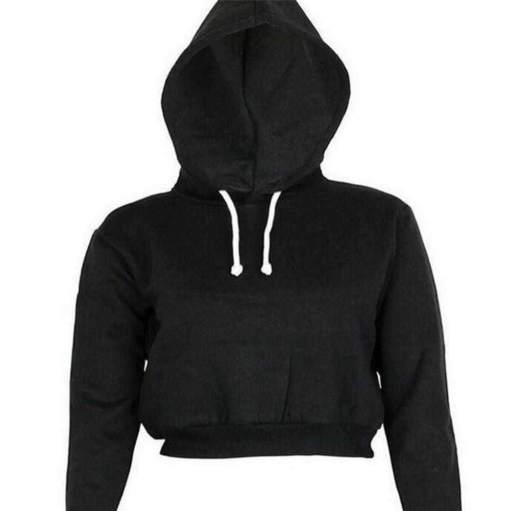 2019 ผู้หญิงฤดูใบไม้ร่วง Hoodies Solid Crop Hoodie เสื้อแขนยาวจัมเปอร์ Hooded Pullover เสื้อลำลองเสื้อกีฬาเสื้อยืด