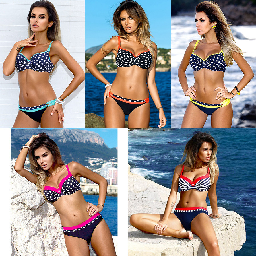 bikini swimwear women 2018 sexy bikini set push up swimsuit female two piece swimsuit women halter yellow bikini girl beach wear