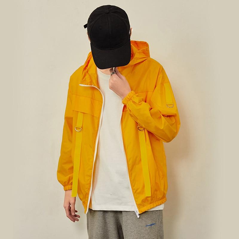 Summer Thin Jacket Men's Fashion Solid Color Casual Hooded Jackets Mens Streetwear Wild Loose Hip Hop Bomber Jacket Men M-3XL
