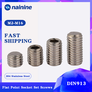 Image 1 - DIN913 [M2 M12] 304ステンレス鋼糸フラットポイント止めねじ六角ソケット固定ネジはA070