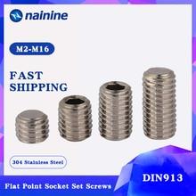 DIN913 [M2 M12] 304 Stainless Steel Thread Grub Screws Flat Point Hexagon Socket Set Screws Headless A070