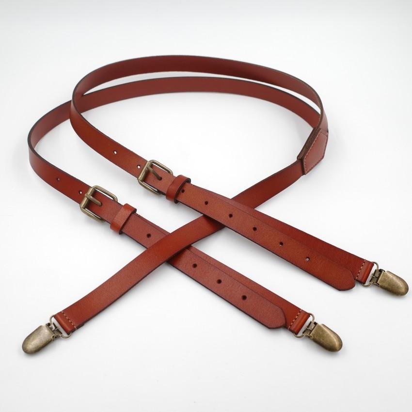 1.7cm High Quality Real Cowhide Split Leather Strap Women Men Unisex Suspenders