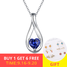 XiaoJing 925 sterling silver custom Mobius heart-shaped birthstone DIY pendant necklace For Women Valentines Day gift wholesale