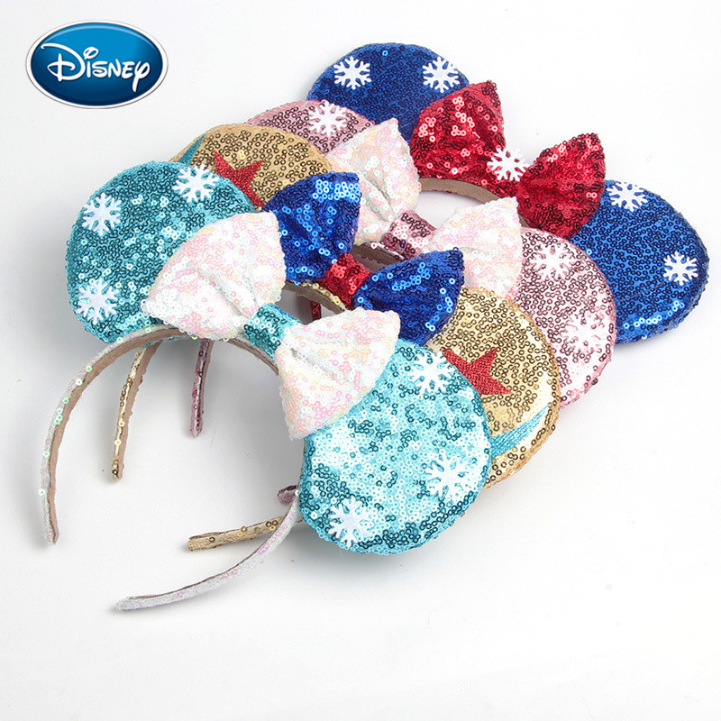 Disney 1pcs Girl Hair Accessories Snow White Headband Mickey Headband Holiday Ball Dress Up Headband Ice Snow Romance Series