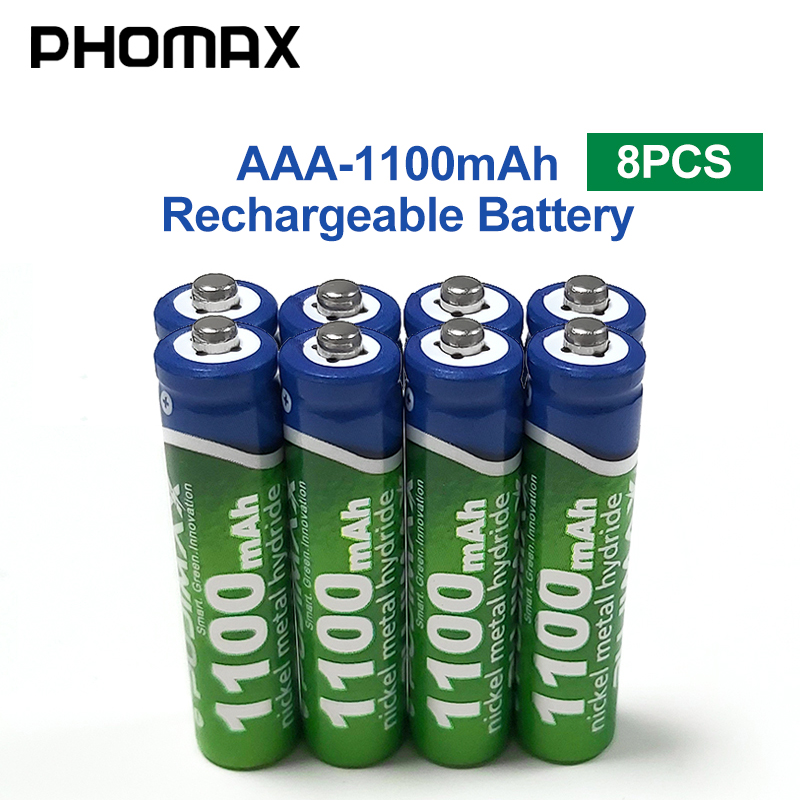 PHOMAX 1100mAh AAA Rechargeable Battery 8pcs/lot Battery 1.2V Calculator Electronic Toy Remote Control Radio Mouse NiMH Battery