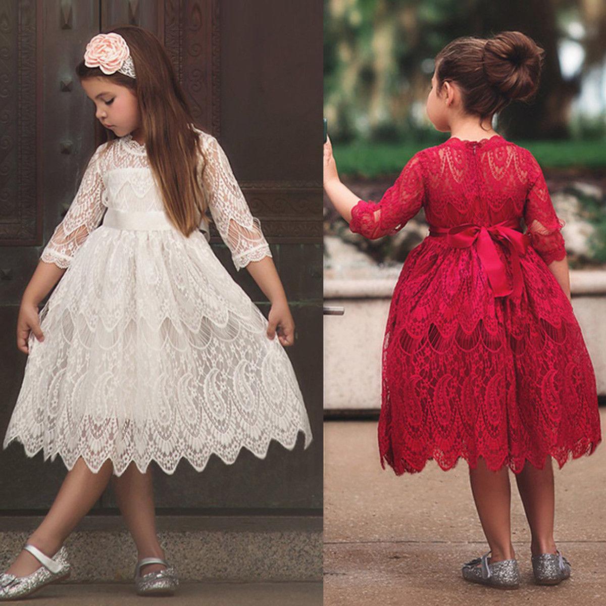 Flower Girls Princess  ▪  Dress Kids Baby Party Lace Tulle Tutu Dress