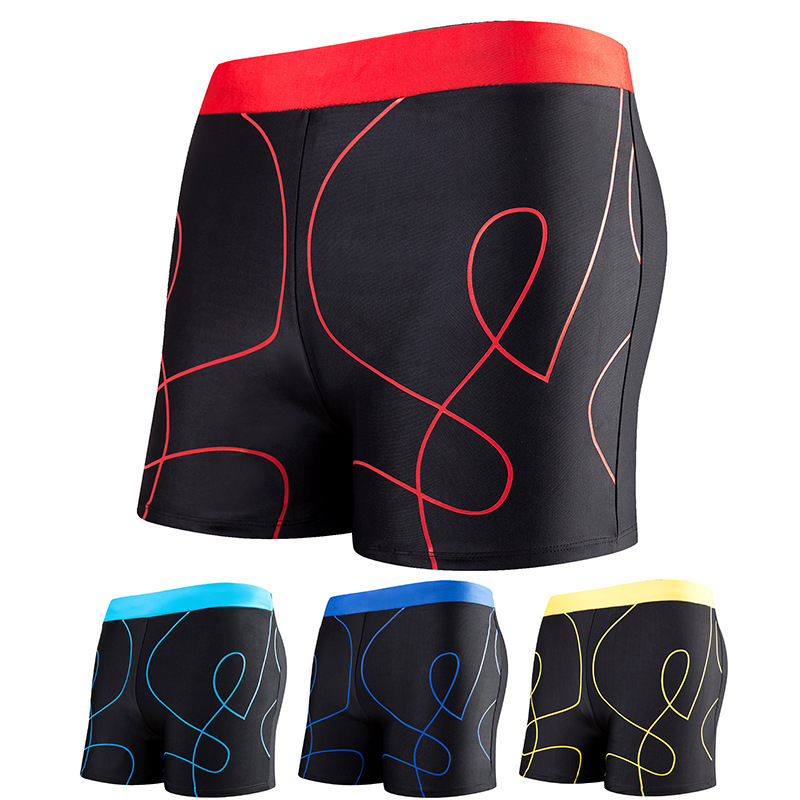 Beach Men Stripes Boxer Swim Shorts Comfortable Breathable Thin Hot Springs Swimming Trunks Currently Available Wholesale