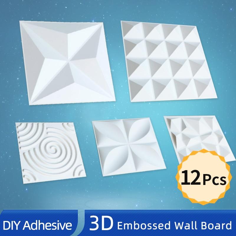 OK-B 12 шт./лот 3D клейкая доска стены 3D стеновые панели декор фон стены стикеры жесткий ПВХ тиснением стереоскопическая доска