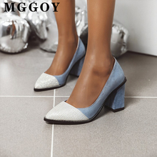 fashion square heel high heels women mid pumps shoes office leisure summer 2020 ladies spring synthetic female
