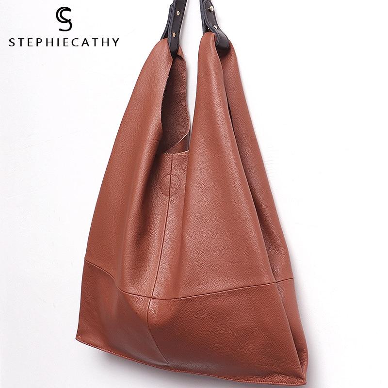 mona bags montenegro - SC Casual Women Hobo Bag Soft Genuine Cow Leather Fashion Shoulder Bags Female Large Tote Bucket Shopping Handbag&Liner Bag