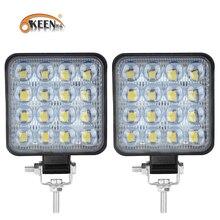 OKEEN 2pcs 6D Lens 48W LED Work Light Bar 3030 LED 16 SMD for 4x4 Offroad SUV ATV Tractor Boat Trucks Excavator 12V 24V Work Bar
