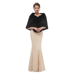 Image 2 - Black Cloak Shawl Adults Formal Jackets Cape Fourrure Shrugs For Women Winter Wedding Dress Wrap Womens Dresses With Cape 2020