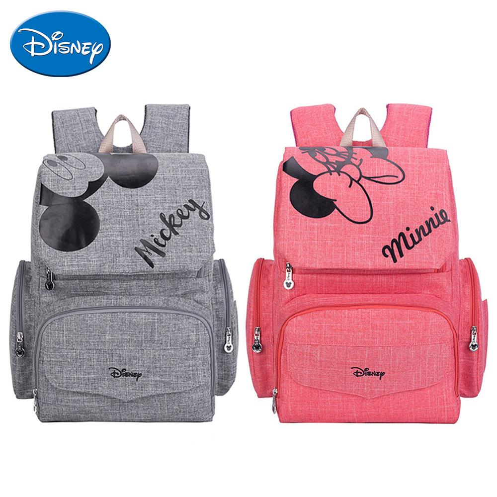 Disney Maternity Diaper Bag Cute Minnie Mickey Printed Mommy Backpacks Large Capacity Baby Stroller Nursing Nappy Storage Bag-in Diaper Bags from Mother & Kids