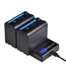 2Pcs 7200mAh NP-F960 NP-F970 Batterie Led-betriebsanzeige + LCD Dual Ladegerät für Sony NP-F550 NP-F770 NP-F750 F960 f970 F950