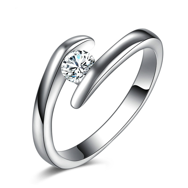 Simple Design Cubic Austria Crystal Zirconia Women/Girls S90 Rhod Rings Wedding Anniversary Fashion Party Jewelry Wholesale