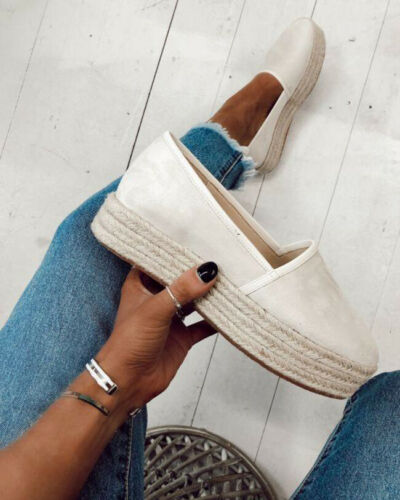 DIHOPE Women Flats Shoes Slip On Casual Ladies Canvas Shoes thick bottom Lazy Loafers Female Espadrilles 2020