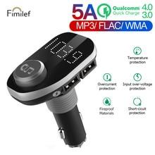цена на Fimilef FM Transmitter Aux Modulator Bluetooth Handsfree Car Kit Car Audio MP3 Player with 3.0A Quick Charge Dual USB Car Charge