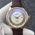 Luxe Merk Nieuwe Rvs Kalender Mannen Horloges Automatische Mechanische Zilver Rose Goud Blauw Bruin Lederen Glazen Achterkant