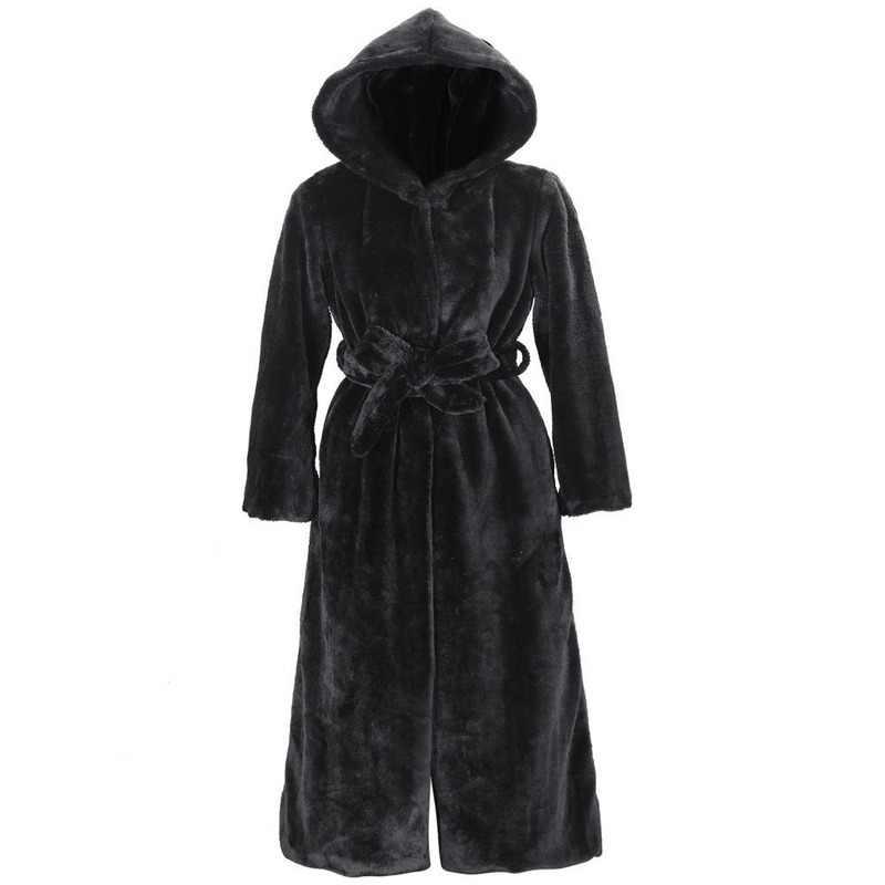 Musim Gugur Musim Dingin Baru Buatan Bulu Imitasi Mantel Berkerudung Kapas Empuk Long Mewah Mantel Wanita Mantel Pakaian Wanita Lace-Up mantel Hitam