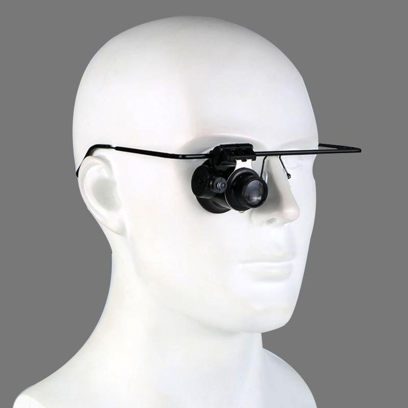 1 Pcs Headband LED Light Glasses Monocular Magnifier 20X Watchmaker Jewelry Optical Lens Glass Magnifier Magnifier