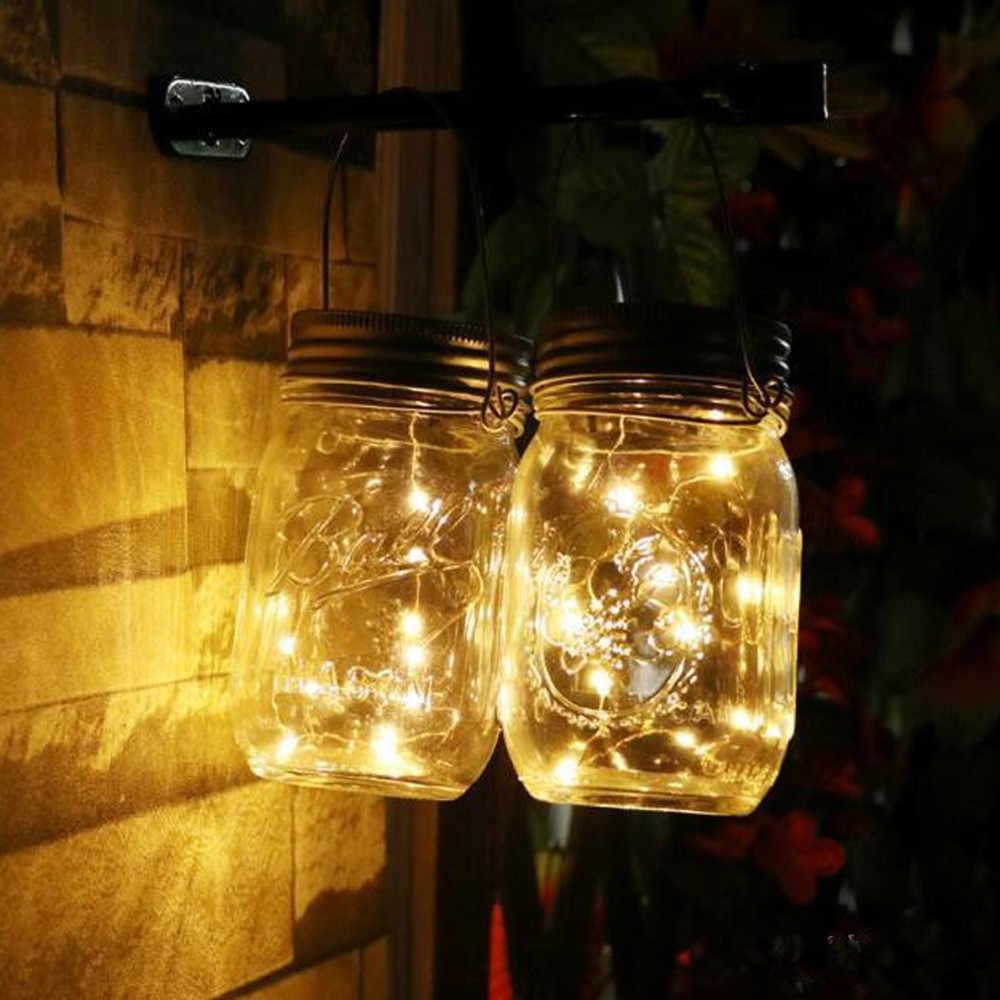 20 # LED String Lampu Tenaga Surya untuk Mason Jar Tutup Insert Warna Mengubah Taman Tahan Air Dekorasi Natal Garland