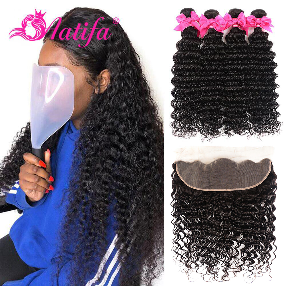 Brazilian Deep Wave Bundles With Frontal Remy 13*4 Lace Frontal With Bundles  Human Hair 3 Bundles With Frontal hair extension
