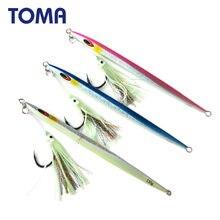 TOMA 1pc szybkość Vetical Jig 150g 200g 250g 300g Jigging łyżka Assist Hook ołów Jig słonowodne sztuczne metalowe przynęty