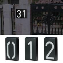 Światło zewnętrzne numer domu zasilany energią słoneczną zewnętrzne drzwi LED tablica adresowa kinkiet numer domu tabliczka na drzwi