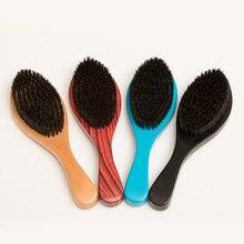 Brosse à Barbe en bois pour hommes, peigne à poils de sanglier moyennement doux, courbe de la Barbe, ondulé, 360