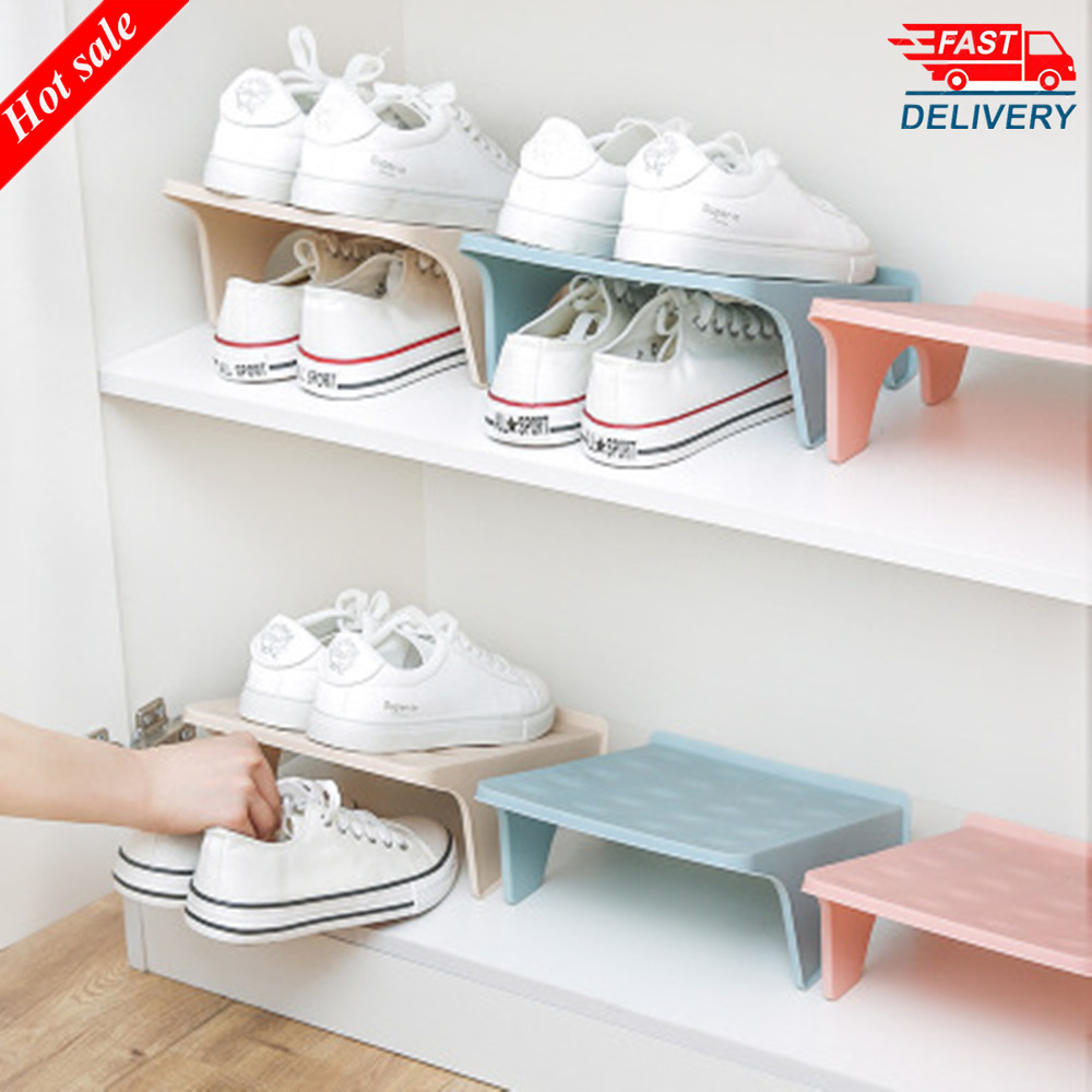 2020 Hot Sale Household Storage Shoe Rack Double Shoe Support Plastic Integrated Simple Space Economy Simple Shoe Storage Rack