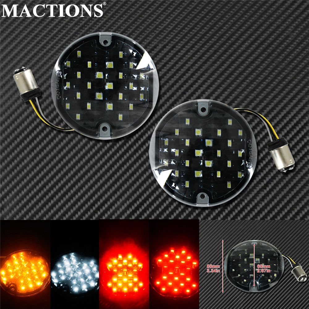 Motorcycle 1157 LED Turn Signal Inserts Lights 3-1/4 Flat Somked Lens Lamp With E Mark For Harley Touring Softail FLHR Road King