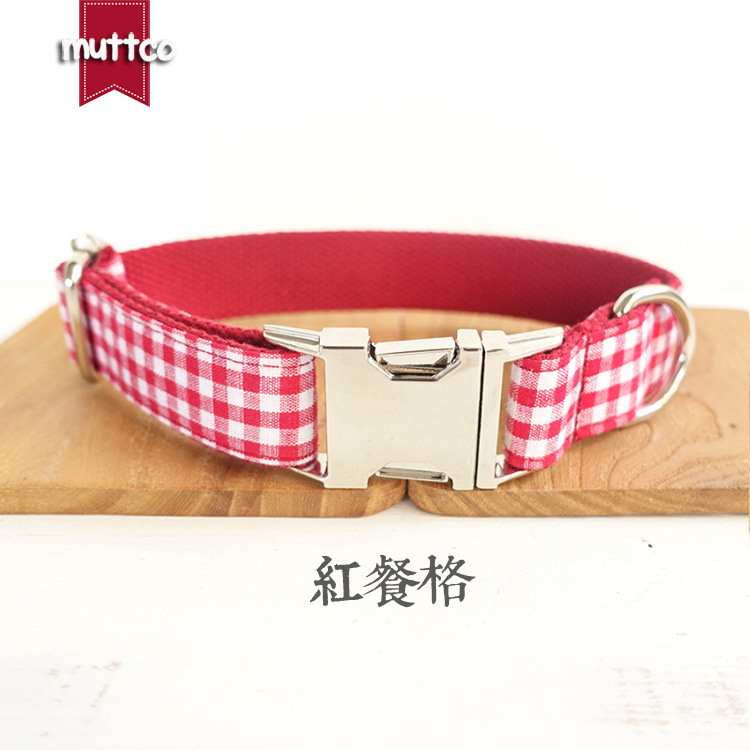 Muttco New Products Pet Dog Collar Red Plaid Dog Collar Cool Pet Supplies New Style