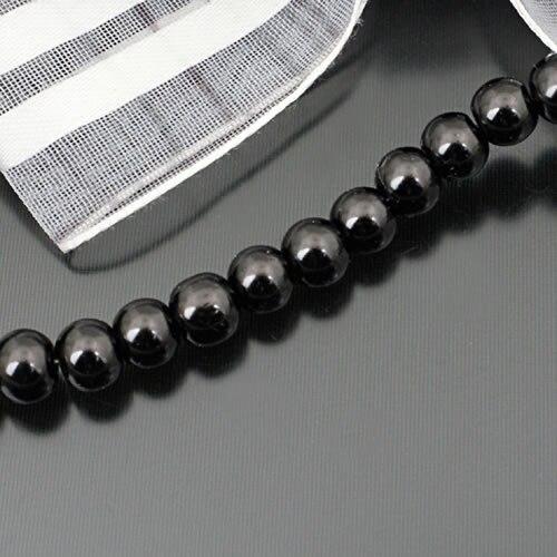 A011) 3 мм 4 мм 5 мм 6 мм 8 мм 10 мм 12 мм 14 мм 16 мм черный белый серый коричневый тон Круглые Стеклянные окрашенные цветные бусины имитация жемчуга - Цвет: Черный