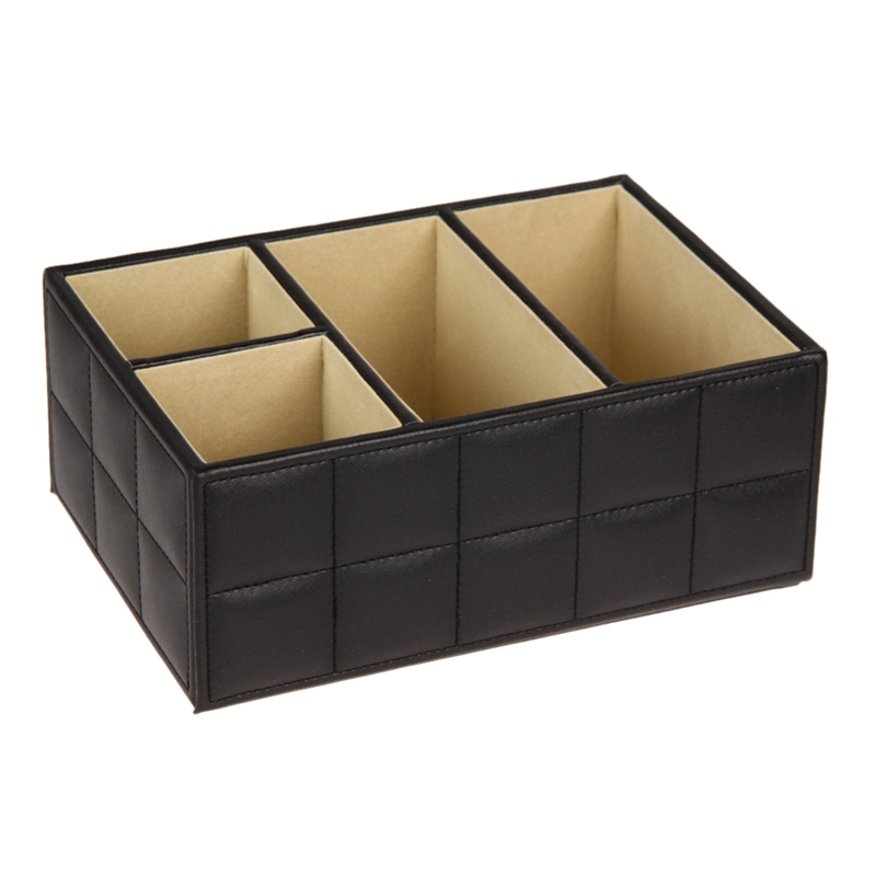 BMBY-Pu Leather Storage Boxes Luxury For Remote Control Phone Cosmetic Make Up Container Home Office Car Organizer