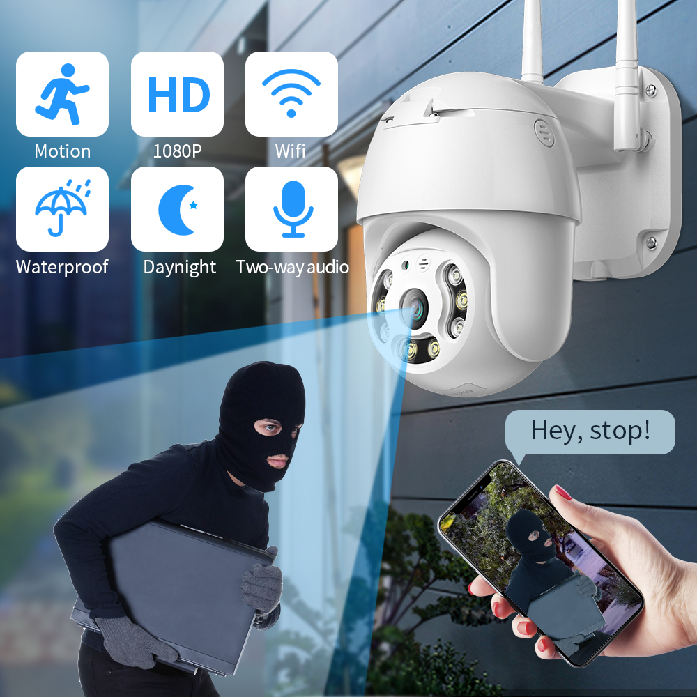 SDETER Security Camera WIFI 1080P Outdoor PTZ Speed Dome Wireless IP Camera CCTV Pan Tilt 4XZoom IR Surveillance Motion Alarm