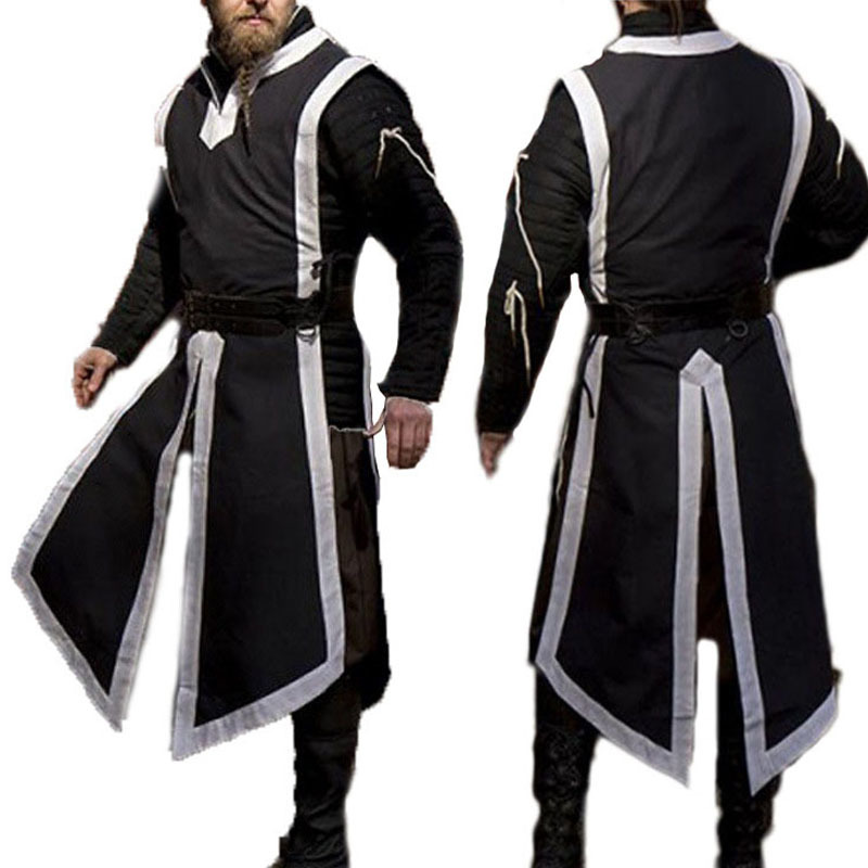 Medieval Men Viking Pirate Robes Norman Warriors Vest Knight   Cosplay Costume Tabard Tunic Defender Guard Long Blouse Tee Shirt