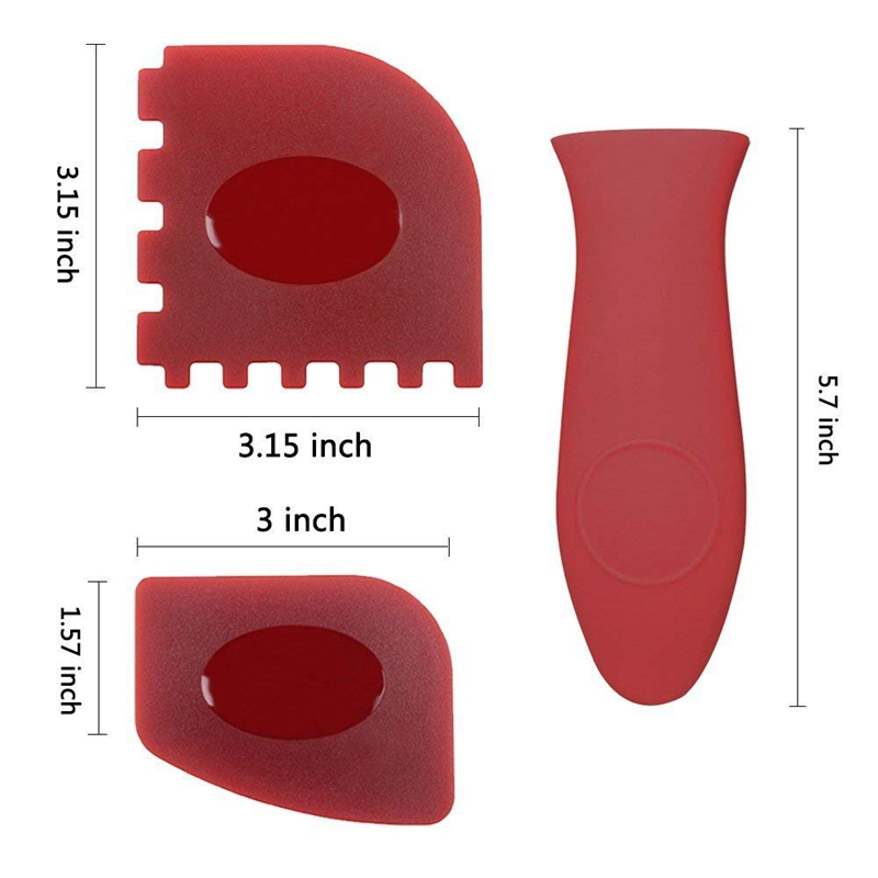 6 Piece Durable Grill Pan Scraper Handle Holder Plastic Set