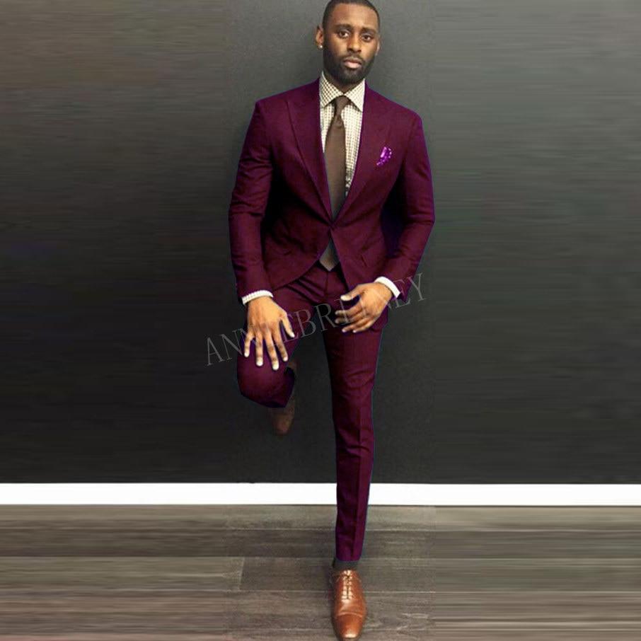2020 New Designs Men Suits 2 Pieces Burgundy Men's Wedding Suit Custom Plus Size Blazer Groom Marriage Tuxedo Jacket Pants Set