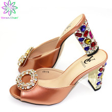 Wedding Peach Flowers Shoes Without Bag Ladies Shoes without Matching